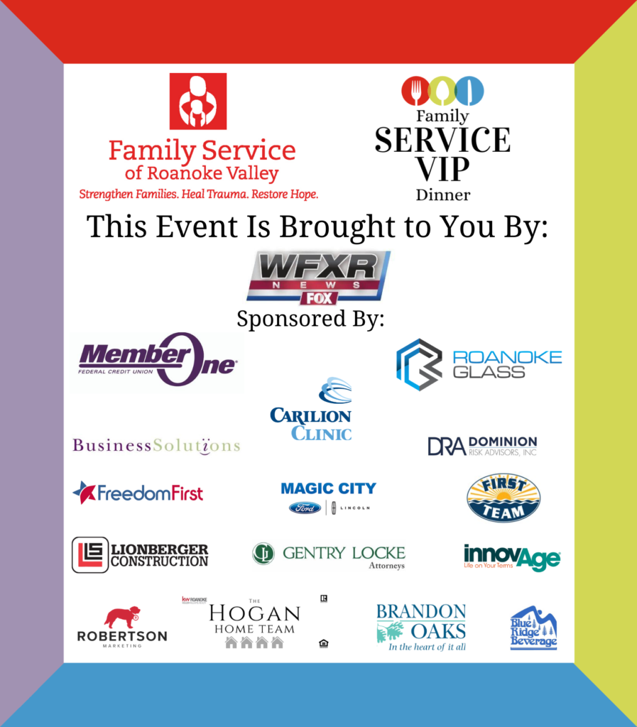 This event is brought to you by WFXR. Sponsored by Member One; Roanoke Glass; Carilion Clinic; Business Solutions; Dominion Risk Advisors, Inc.; Freedom First; Magic City; First Team Auto; Lionberger Construction; Gentry Locke Attorneys; innovAge; Robertson Marketing; The Hogan Home Team; Brandon Oaks; and Blue Ridge Beverage.